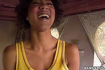 Shy Black Girl Evanni Solei Gives A POV Blowjob Outdoors