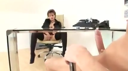 Lady Office Face Black Stockings Opaque