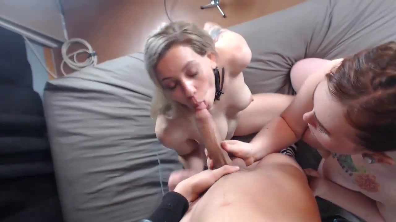 Two Girls Share A Huge Cock To Suck