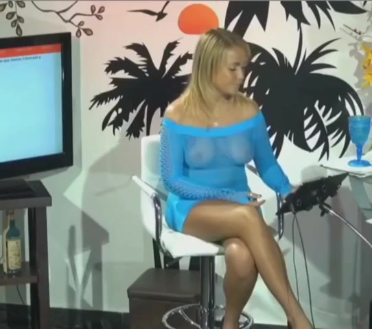 Jenny Scordamaglia Presents Tv Show In A Transparent Outfit