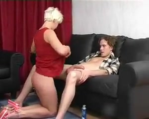 Short Haired Blonde Cougar Blows Her Younger Man