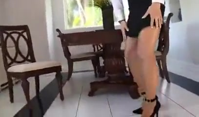 Ladyboy In Pantyhose Jerks Off His Cock