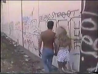 Busty Blonde Gf Fucked With Natural Tits Near Railroad Tracks