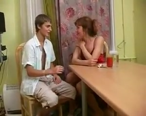 Russian Mother Alla With Her Boy In The Kitchen