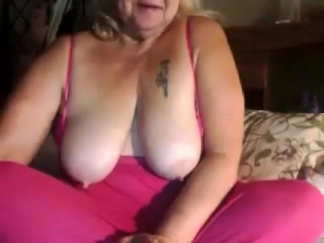 Blonde Granny In Front Of The Webcam