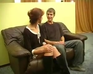 Russian Mother Alla With Her Boy On The Couch