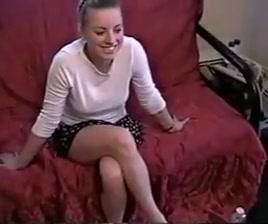 Sexy Blonde Gives Panty Satin Handjob