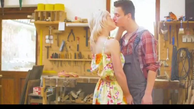 Blonde Babe Anal Workout On The Workbench