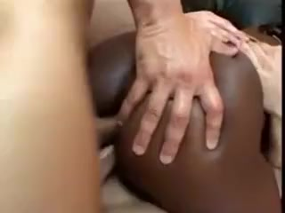 Ebony Slut Double Penetrated By Two White Cocks