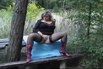 German Blonde Milf In Nylons And Boots Fucked Outdoors