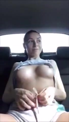 Brunette Bombshell Masturbating And Squirting Hard In The Car