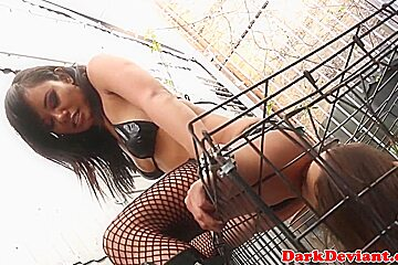 Asian femdom pussy toyed by sub caged slave