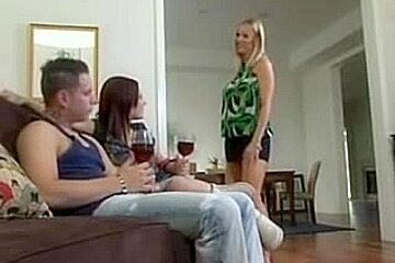 Mam helps her gal take care of her bfs strapon
