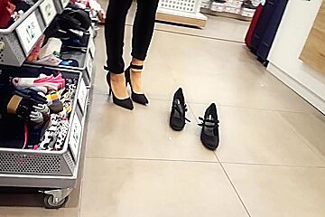 Shoe shopping w my fr her nylon feet walking