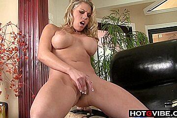 Fake Tits Blondie Fingering Away