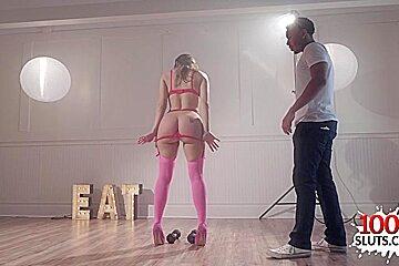 Big tits pornstar gagging and cumshot