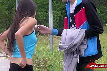 Shaved teen outdoor and cumshot