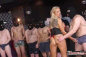 Big tits pornstar bukkake with cum in mouth