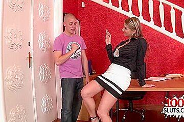 Brunette pornstar titty fuck and cumshot