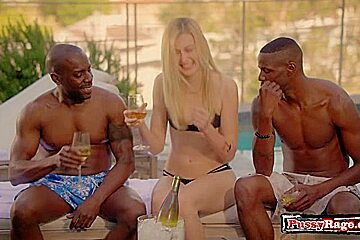 Hot girlfriend threesome and creampie