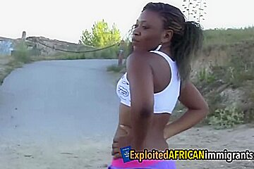 Hot ebony doll sucks and gets her chocolate booty smashed