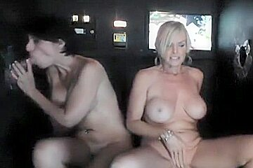 blonde milf with friend at gloryhole