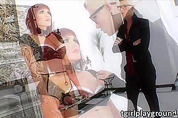 Shemale punk Danni Daniels punishes her Tgirl sex slave Eva Lin