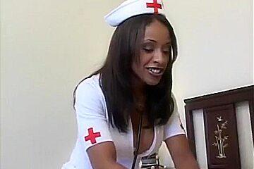 Sexy Black Nurse and White Guy