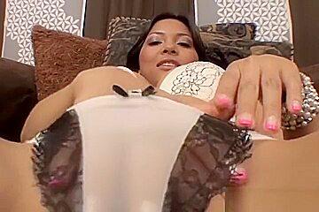Lingerie star Adrianna Luna takes a facial cumshot