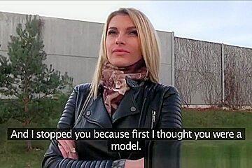 Tall blonde fucks for money