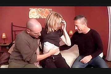 Hairy girl with 2 guys