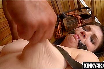 Natural tits submissive spanking and cum in mouth