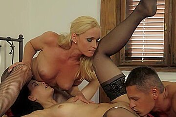 Two Lusty Babes Get Screwed by One Horny Guy