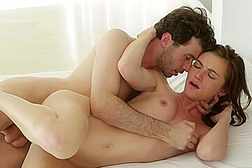 Lovely red haired honey gives her bf a wonderful blowjob