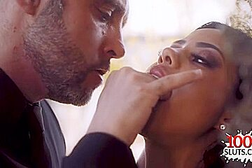 Latin pornstar outdoor with cum in mouth