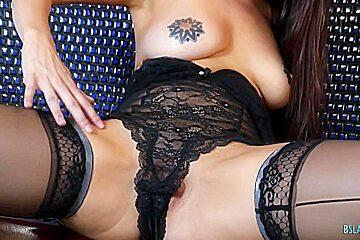 Sexy tattooed babe with big tits fucks hard
