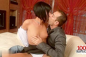 Brunette pornstar squirt with facial