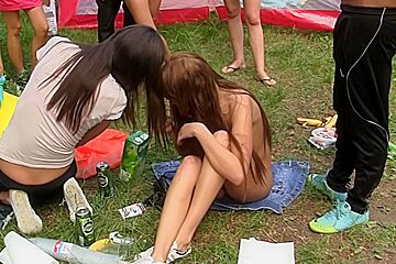 Group sex in the woods with a juvenile student