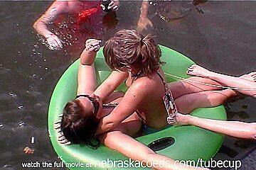 stupid drunk sluts on a floatee
