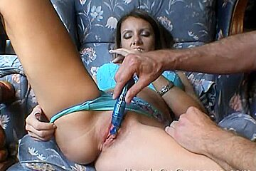 HandsOnOrgasms Video: Blue Lingerie Chair