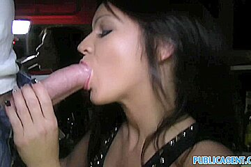 PublicAgent: Beautiful brunette barmaind gets fucked behind the bar