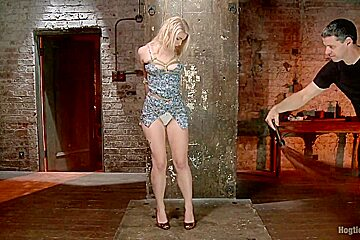 Suspended Anal Invasion for Newbie Blonde Squirting Slut