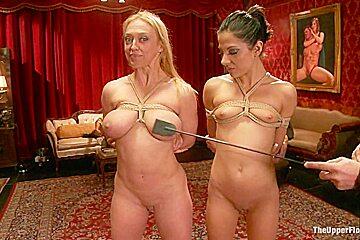 Big Tits Blonde Slave Suspended for Anal Fuck vs Petite Cock Sucker