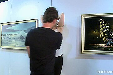 GIANT NATURAL TITS Put on Display and Violated at Art Gallery