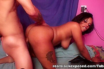 Chubby Christina gets her fat black ass trashed
