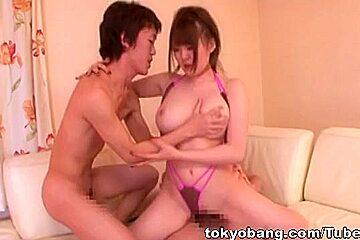 Busty Momoka Nishina Drilled Deep In A Threesome