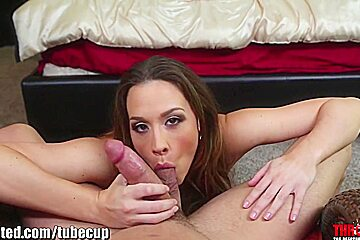 Throated Pornstar Chanel Preston's extreme gagging juice goes all over her Big Tits!