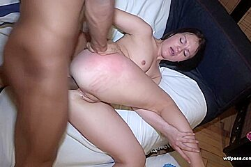 Ebony male is tearing hot girls asshole while fuck