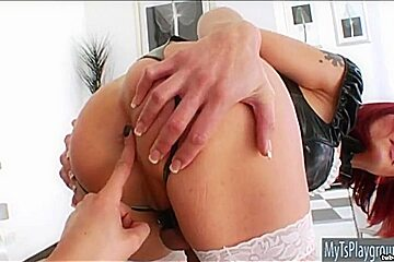 Red haired shemale Eva Lin throat fucked and anal ripped