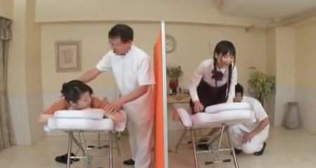 Japanese moter and daughter having sex while been massage